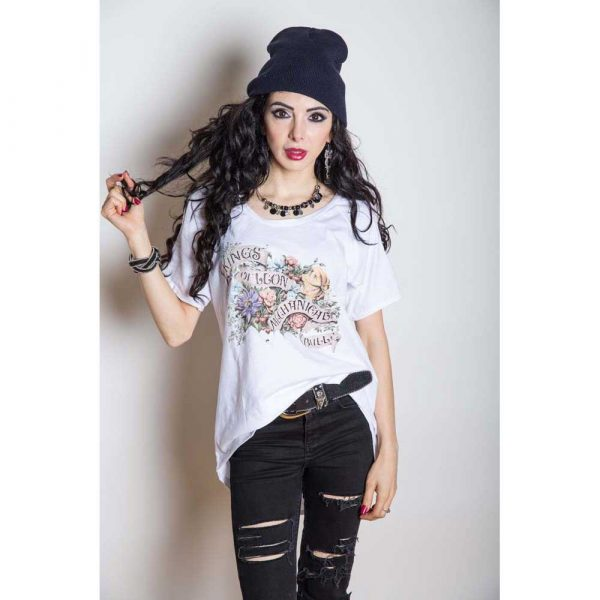 Kings of Leon Ladies Fashion T-Shirt: Flowers with Cut-outs