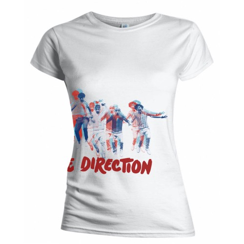 One Direction Ladies T-Shirt: Band Jump (Wrap-around/Skinny Fit/Back Print) (X-Large)