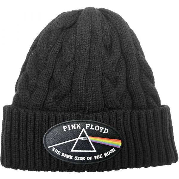 Pink Floyd Unisex Beanie Hat: The Dark Side of the Moon Black Border (Cable Knit)