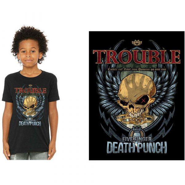 Five Finger Death Punch Kids T-Shirt: Trouble (12 - 13 Years)